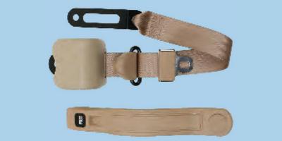 3 Point Retractable Bucket SeatBelt - Brown