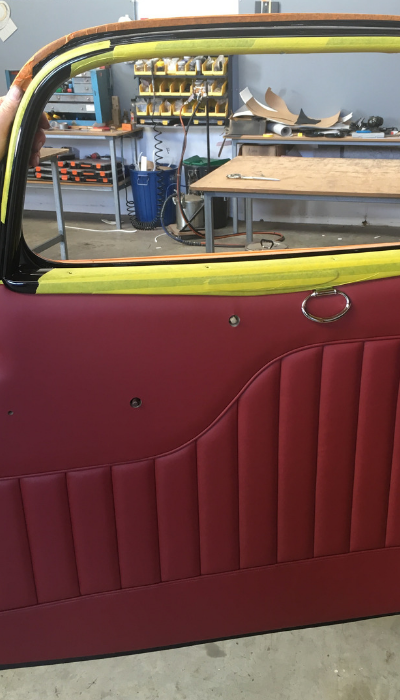 1934 Ford 3 window coupe door upholstered